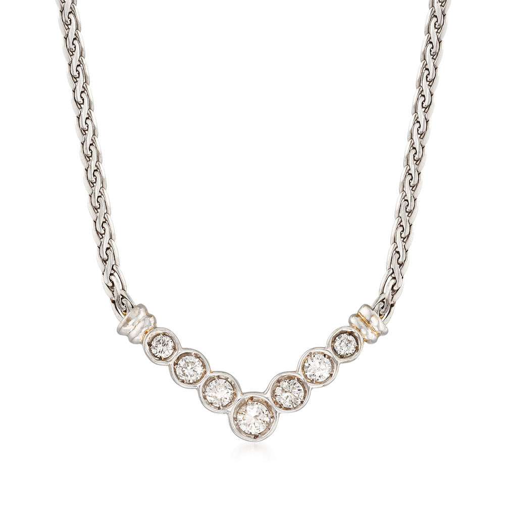 C. 1990 Vintage 1.00 ct. t.w. Diamond V-Shaped Necklace in ...