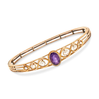 C. 1940 Vintage 2.00 Carat Amethyst and 2.5x4mm Cultured Pearl Bracelet in 14kt Yellow Gold, , default