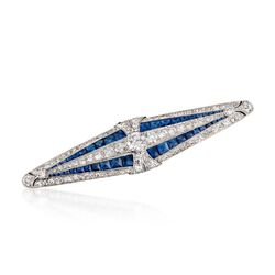 C. 1920 Vintage Marcus & Co. 4.00 ct. t.w. Sapphire and 3.55 ct. t.w. Diamond Bar Pin in Platinum, , default