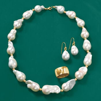 12-15mm Cultured Baroque Pearl Necklace with 14kt Yellow Gold