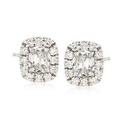 Henri Daussi 1.14 ct. t.w. Diamond Halo Stud Earrings in 18kt White Gold    , , default