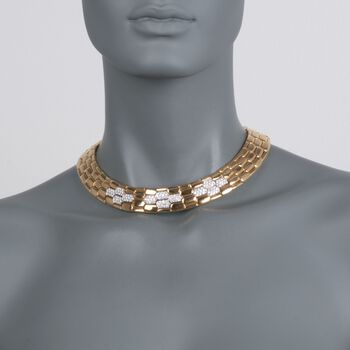 C. 1990 Vintage 3.60 ct. t.w. Diamond Wide Geometric Collar Necklace in 18kt Yellow Gold. 14.5""