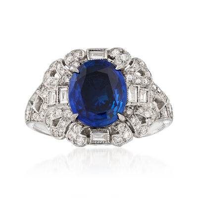 C. 1990 Vintage 2.12 Carat Sapphire and .36 ct. t.w. Diamond Ring in 18kt White Gold, , default