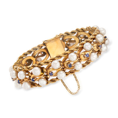 C. 1970 Vintage Cultured Pearl and 1.20 ct. t.w. Sapphire Rope Edge Bracelet in 14kt Yellow Gold, , default