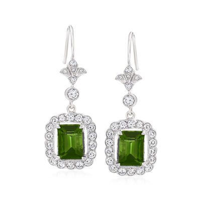 C. 1980 Vintage 3.50 ct. t.w. Green Tourmaline Drop Earrings with 1.30 ct. t.w. Diamonds in 18kt White Gold