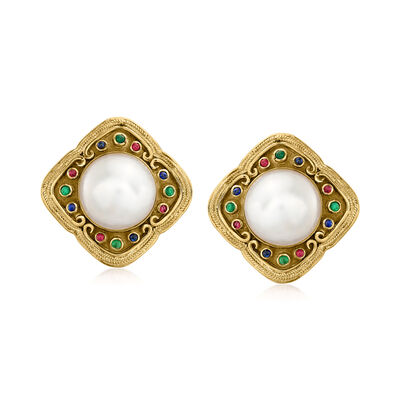 C. 1980 Vintage 15mm Cultured Mabe Pearl Clip-On Earrings with .80 ct. t.w. Multi-Gemstones in 18kt Yellow Gold