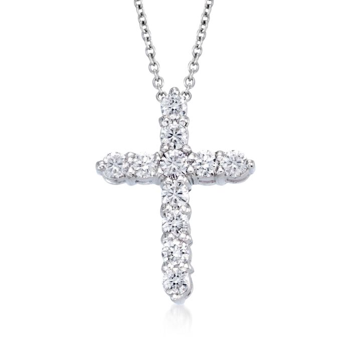 Roberto Coin Tiny Treasures .45 Carat Total Weight Diamond Cross Necklace in 18-Karat White Gold, , default