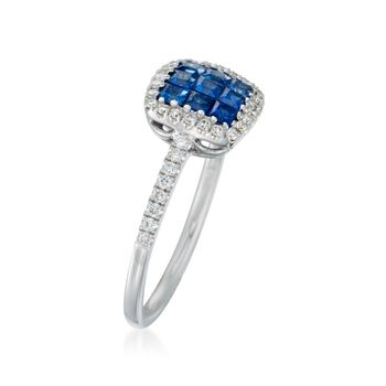 Gregg Ruth .53 ct. t.w. Sapphire and .23 ct. t.w. Diamond Ring in 18kt White Gold, , default
