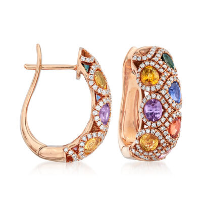 C. 1990 Vintage 3.13 ct. t.w. Multicolored Sapphire and .55 ct. t.w. Diamond Earrings in 18kt Rose Gold