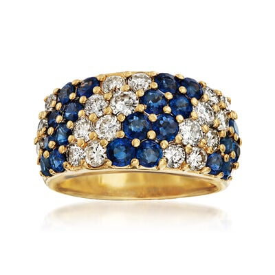 C. 1980 Vintage 1.92 ct. t.w. Sapphire and 1.41 ct. t.w. Diamond Diagonal Striped Ring in 18kt Yellow Gold, , default