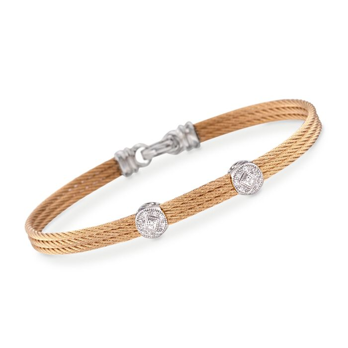 """ALOR Classique Diamond Dual-Station Bracelet in Yellow Stainless Steel and 18-Karat White Gold. 7"""", , default"""
