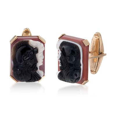 C. 1960 Vintage Lucien Piccard Agate Roman Soldier Cameo Cuff Links in 14kt Yellow Gold, , default