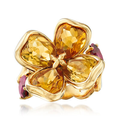 C. 2000 Vintage Chanel 7.00 ct. t.w. Citrine and 1.40 ct. t.w. Rhodolite Garnet Flower Ring in 18kt Yellow Gold