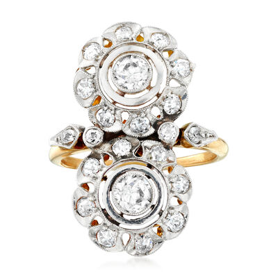 C. 1920 Vintage 1.00 ct. t.w. Double Diamond Flower Ring in Platinum and 14kt Yellow Gold, , default