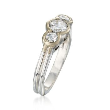 C. 1990 Vintage .80 ct. t.w. Bezel-Set Diamond Ring in 18kt White Gold. Size 5.25