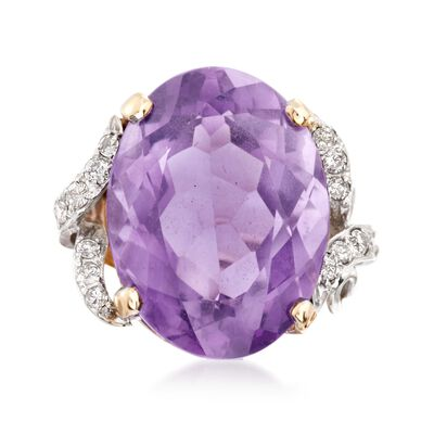 C. 1970 Vintage 22.25 Carat Amethyst and .35 ct. t.w. Diamond Cocktail Ring in 14kt Two-Tone Gold, , default