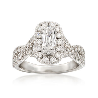 Henri Daussi 1.44 ct. t.w. Diamond Halo Engagement Ring in 18kt White Gold, , default