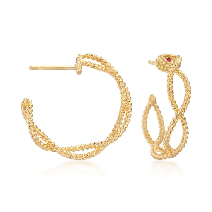 Roberto Coin Barocco 18-Karat Yellow Gold Braid Hoops, , default