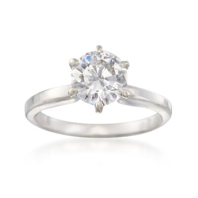 C. 2000 Vintage 1.35 Carat Diamond Solitaire Ring in 14kt White Gold