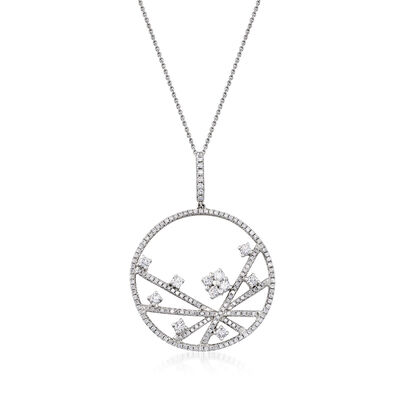 C. 1990 Vintage Piero Milano 1.75 ct. t.w. Diamond Abstract Circle Pendant Necklace in 18kt White Gold