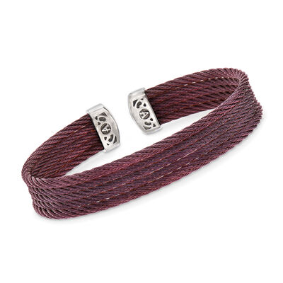 "ALOR ""Classique"" Burgundy Multi-Strand Stainless Steel Cable Cuff, , default"