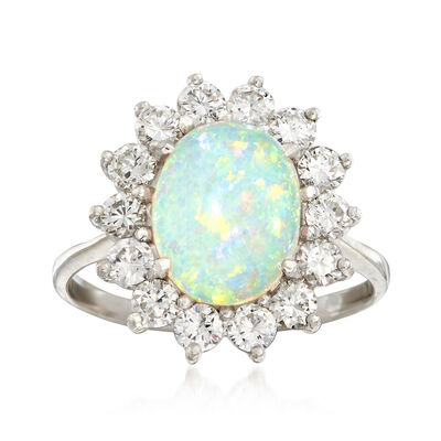 C. 1970 Vintage Opal and 1.25 ct. t.w. Diamond Ring in 18kt White Gold, , default