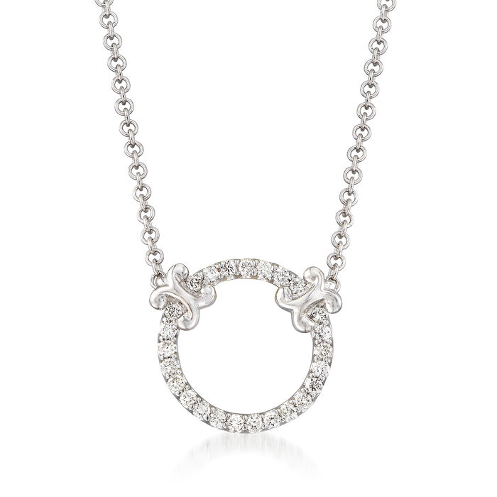 "Gabriel Designs .13 ct. t.w. Diamond Open Circle Necklace in 14kt White Gold. 16"", , default"