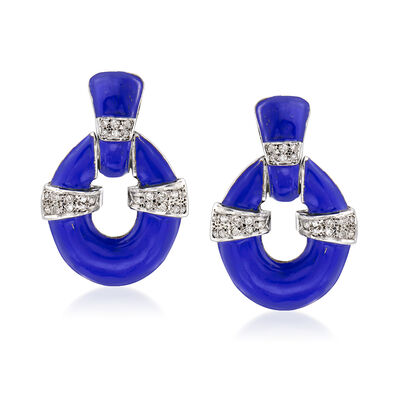 C. 1960 Vintage .65 ct. t.w. Diamond Doorknocker Clip-On Earrings with Blue Enamel in 18kt White Gold
