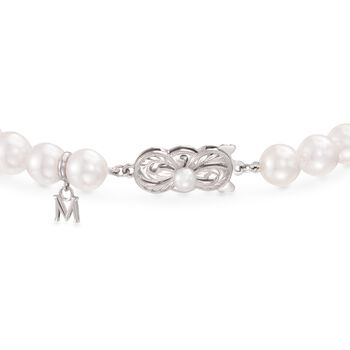 "Mikimoto Akoya Pearl and .45 Carat Total Weight Diamond Bracelet in 18-Karat White Gold. 7"", , default"