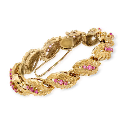 C. 1970 Vintage 3.00 ct. t.w. Ruby Leaf-Link Bracelet in 14kt Yellow Gold