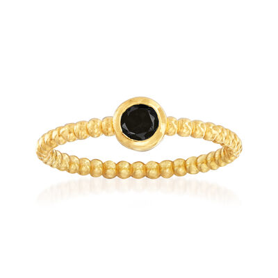 "Phillip Gavriel ""Popcorn"" .20 Carat Black Spinel Beaded Ring in 14kt Yellow Gold"
