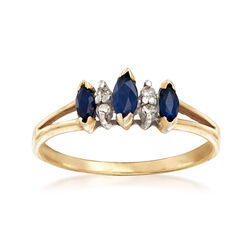 C. 1980 Vintage .45 ct. t.w. Sapphire Ring With White Topaz Accents in 10kt Yellow Gold, , default