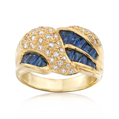 C.1990 Vintage 1.24 ct. t.w. Sapphire and .41 ct. t.w. Diamond Crossover Ring in 18kt Yellow Gold