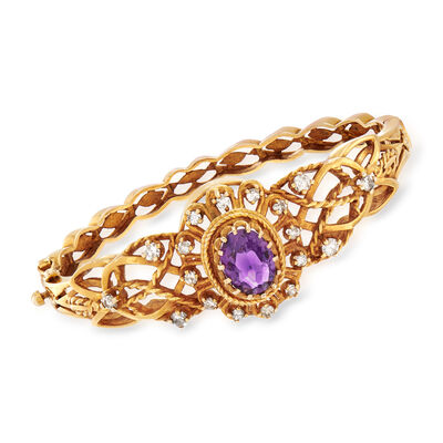 C. 1970 Vintage 2.65 Carat Amethyst and .85 ct. t.w. Diamond Bangle in 14kt Yellow Gold, , default