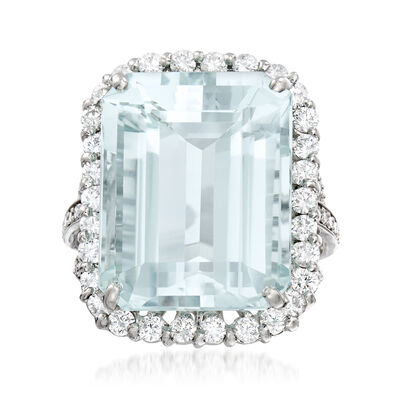 C. 1980 Vintage 25.65 Carat Aquamarine and 1.70 ct. t.w. Diamond Ring in 14kt White Gold