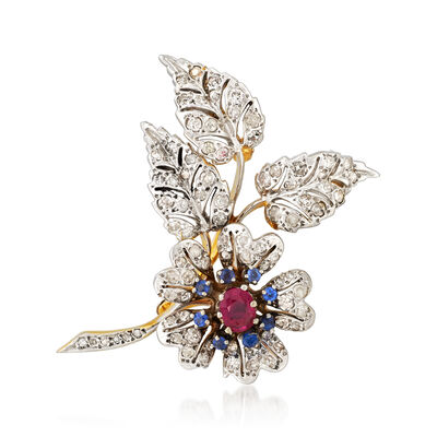C. 1970 Vintage .50 Carat Ruby and 2.00 ct. t.w. Diamond Flower Pin with .40 ct. t.w. Sapphires in 14kt Two-Tone Gold