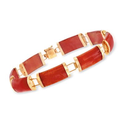 C. 1980 Vintage Red Jade Bracelet in 14kt Yellow Gold, , default