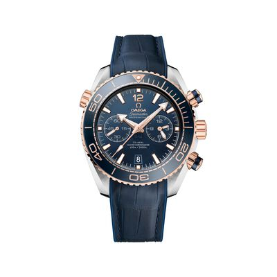 Omega Seamaster Planet Ocean Men's 45.5mm 18kt Rose Gold Watch with Blue Dial and Leather Strap, , default