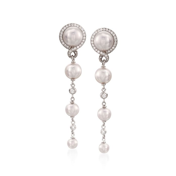 Mikimoto Graduated Pearl and Diamond Drops in 18-Karat White Gold, , default