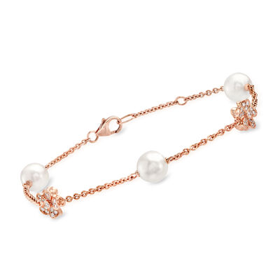 "Mikimoto ""Cherry Blossom"" 7mm A+ Akoya Pearl and .23 ct. t.w. Diamond Bracelet in 18kt Rose Gold"