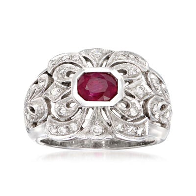 C. 1980 Vintage .95 Carat Ruby and .45 ct. t.w. Diamond Cocktail Ring in 18kt White Gold