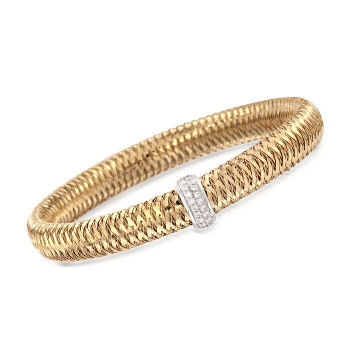 "Roberto Coin Primavera .18 Carat Total Weight Diamond Bangle in 18-Karat Yellow Gold. 7"", , default"
