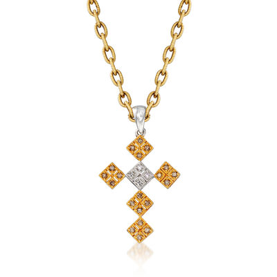 C. 1990 Vintage .25 ct. t.w. Brown and White Diamond Cross Pendant Necklace in 18kt Two-Tone Gold, , default