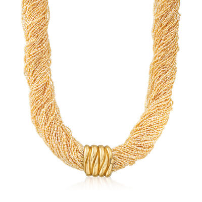 C. 1980 Vintage Seed Pearl Multi-Strand Necklace with 18kt Yellow Gold