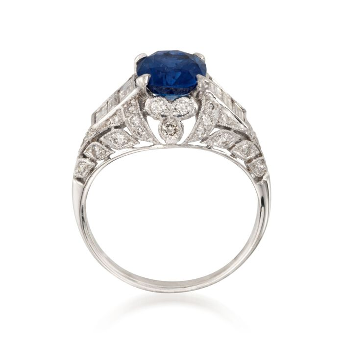C. 2000 Vintage 2.18 Carat Sapphire and 1.00 ct. t.w. Diamond Ring in 18kt White Gold