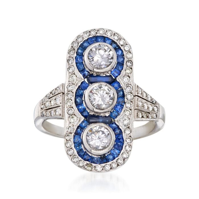 C. 1970 Vintage 1.10 ct. t.w. Diamond and .85 ct. t.w. Sapphire Dinner Ring in Platinum. Size 5.5, , default