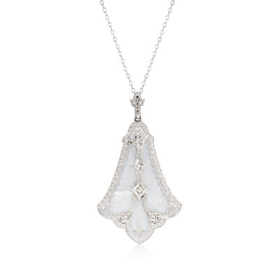 C. 1950 Vintage 35x26mm Glass and .10 ct. t.w. Diamond Pendant Necklace in 14kt White Gold, , default