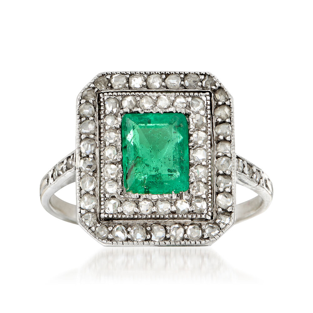 5c4c25c2971a4 C. 1930 Vintage .65 Carat Emerald and .50 ct. t.w. Diamond Ring in 18kt  White Gold. Size 4.25