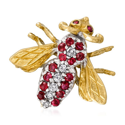 C. 1980 Vintage .50 ct. t.w. Ruby and .15 ct. t.w. Diamond Bee Pin in 18kt Two-Tone Gold