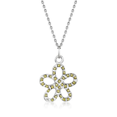 C. 2000 Vintage 14kt White Gold Flower Pendant Necklace with Glitter